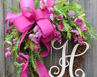 Spring Sweet Pea Wreath with Bright Pink Ribbon, Bright Foliage, Linen and Fern, Personalized Monogram Spring Wreath, Spring Door Wreath