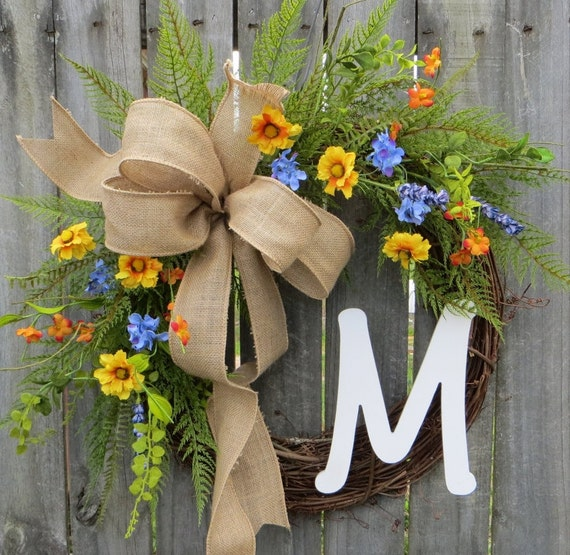 Front Door Spring Wreath ,Spring Wreath,  Wreath for Spring, Wreath with Monogram, Wreath with Burlap Bow, Mother's Day Gift, Housewarming