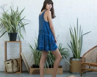 Mini lace dress, Blue tank dress, blue summer dress