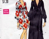 1969 Plunging V Neckline Empire Dress Pattern Vogue 7630 Vintage Sewing Pattern Knee Length or Maxi Dress Worn by Jean Shrimpton Bust 36