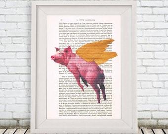 Pig Print, Golden Wings, Flying Pig Print, Pig Art, Piggy, Wall Art Prints, Gift for Men, Wall Hanging, Wall Decor, Pig Decor, Pig Painting