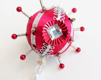 Small Red & Shiny Silver Christmas Sequin Ornament by Distinguished Flamingo