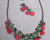 Luscious and Delicious Petite Red Cherry Necklace Set
