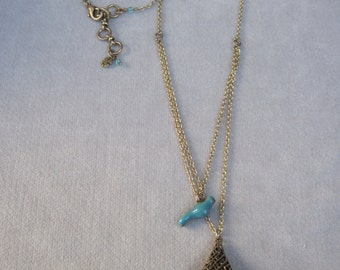 Antique Gold Double Chain n Turquoise Bird with Oblong Bird Nest Pendant Necklace