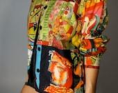 Vintage Picasso Jacket S M L Psychedelic Boho Hippie Gypsy Club Kid Acid Grunge 90s Bohemian Artist Hipster Mod Wearable Art Festival Coat