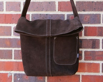 Brown leather bag-ready to ship-brown and blue-cowgirl-cwinn designs-upcycled-repurposed-messenger bag-couture-cwinn designs