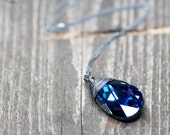 Crystal Necklace, Drop Necklace, Deep Blue Purple, Gift For Wife, Swarovski Necklace, Pendant Necklace, Jewelry For Her, Crystal Jewelry
