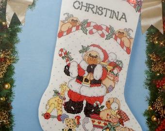 Daisy Kingdom Cross Stitch Kit MERRY CHRISTMAS BEAR Christmas Stocking By Bucilla