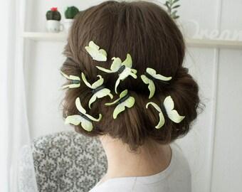 Yellow Hair Pins Set Of 3 Wholesale Butterflies Hairpins Accessory Decoration Butterflies Hair Piece Headpiece Bridal Wedding Hair