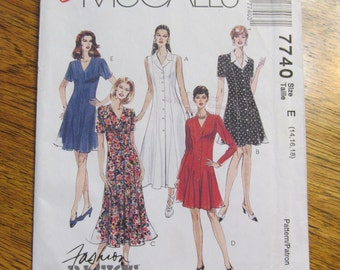1990's ROMANTIC Boho Fit and Flare Princess Seamed Dress in 2 Lengths - Size (14 - 16 - 18) - UNCUT Sewing Pattern McCalls 7740