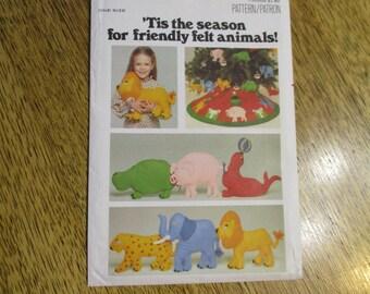 ADORABLE Felt Pillow Dolls - Soft Sculpture Lion, Leopard, Elephant, Pig + Christmas Tree Skirt - UNCUT Vintage Pattern Butterick 5674