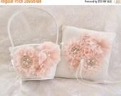 SUMMER SALE SALE Flower Girl Basket Set, Ring Bearer Pillow, Blush Flower Girl Basket Set Wedding Pillow Elegant and Classic