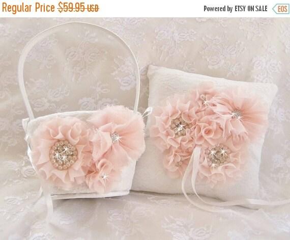 Flower Girl Basket Set, Ring Bearer Pillow, Blush Flower Girl Basket Set Wedding Pillow Elegant and Classic