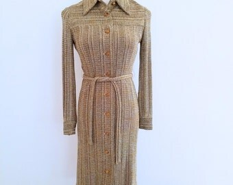 1970s Metallic Thread Shirt Dress Gold Lurex Button Front Tie Waist Rona Womens Vintage Medium