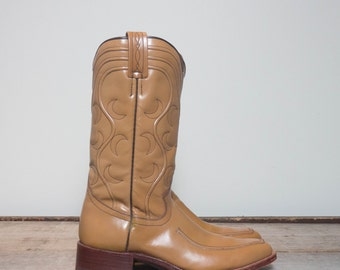 9 B | 1970's Dan Post Stovepipe Western Dress Boots Made in Spain