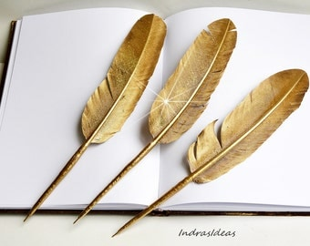 GOLD Feather pen, Wedding Guest Book Pen, Gold Feather Ball point pen, glittering feather, Elegant wedding feather pen, Gold wedding