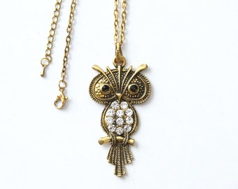 Vintage Gold Owl Pendant Necklace with Rhinestones and Onyx Eyes - Adjustable Gold Plated Owl Necklace with CZ Rhinestones