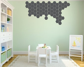 Wall Decor Decals hexagon wall decal | etsy