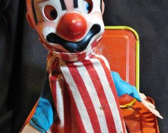 Vintage Tin Litho Wind-Up Jack-In-The-Box Mattel Googly Eyed Clown