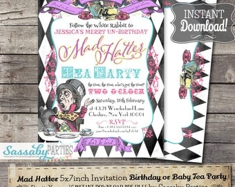 Mad Hatter Tea Party Invitation - INSTANT DOWNLOAD -  Partially Editable & Printable Birthday Party, Baby Shower Alice in Wonderland Invite
