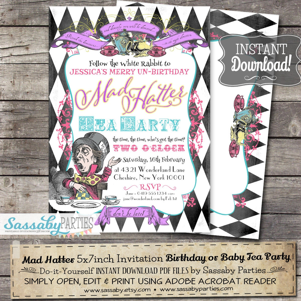 Mad Hatter Tea Party Invitation INSTANT DOWNLOAD