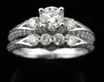 1.3ct Diamonds 14k White Gold Engagement Ring Wedding Band Set Bridal Estate