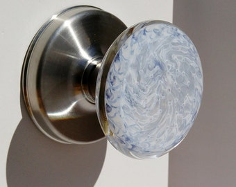 SALE pale blue and white glass art door knob on satin nickel base