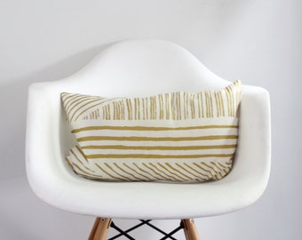 karnataka lumbar pillow cover in metallic gold on off-white organic cotton hemp