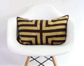 Doha lumbar pillow cover hand printed in Metallic gold on brown organic hemp