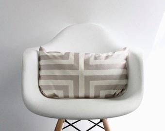 Doha lumbar pillow cover hand printed in metallic blush on off-white organic cotton-hemp