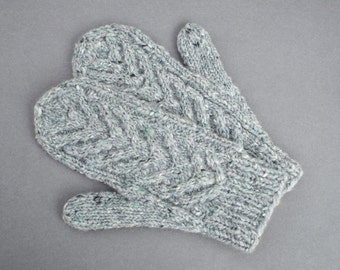 Wool Mittens for Women, Gift for Her, Knitted Winter Gloves, Women's Mittens, Grey Wool