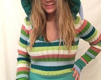 Upcycled clothing striped green Elf jumper hoodie sweater