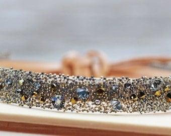 Swarovski Dorado Medley Leather Bracelet Cuff Adjustable
