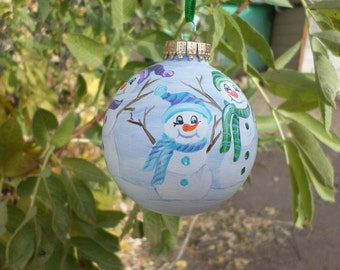 Snowman hand painted ornament  no272