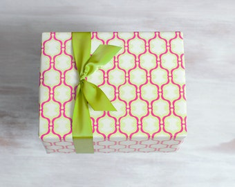 Pink Geometric Recycled Gift Wrap, Modern Wrapping Paper, Moroccan, Made in the USA, Chartreuse Green, Everyday Gift Wrap