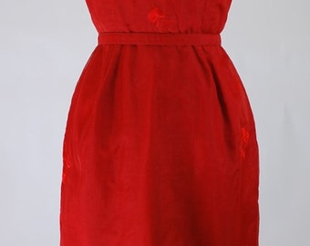 1960's Red Silk Wiggle / Party Dress