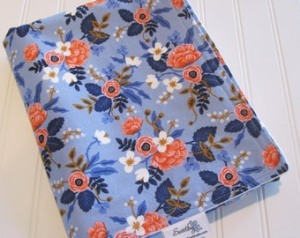 Baby Blanket/Birch Floral in Periwinkle/Organic Cotton Fleece Backing