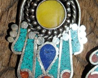 Moroccan turquoise enamel medium Hand