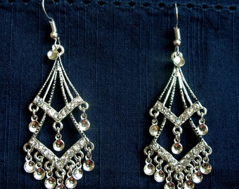 Jorunn - Beautiful Silver Plated Double Diamond Filigree Norwegian Solje Style Earrings with Swarovski Crystals and Silver Drops on Earwires