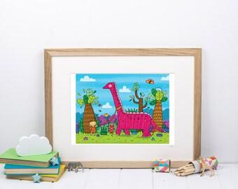 Girl Dinosaur Print - Long Neck Dinosaur - Gift For Girl - Kids Bedroom Art - Pink Dinosaur - New Baby Gift - Dino Print - Dinosaur Poster