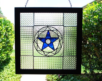 Stained Glass Panel Vintage Glass Tiles Blue Star Clear Textural Glass