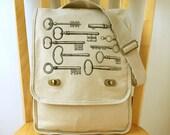 Key Print Steampunk Canvas Messenger Bag Laptop Bag Shoulder Bag