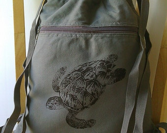 Sea Turtle Canvas Backpack Gym Bag School Bag