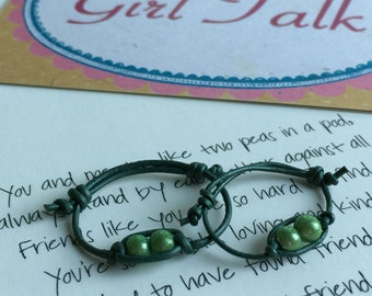 Set of 2 - Two Peas in a Pod Thin Leather Adjustable Rings - Friendship, Sisters,You & Mom