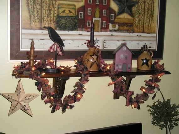 Primitive Lighted Rag Garland, homespun garland, farmhouse garland, rustic garland, Christmas tree garland