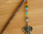 Dragon's Hoard - multi coloured glass and brass fantasy hairstick