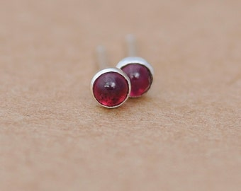 Garnet Earrings with Sterling Silver Studs. 3mm Garnet gemstones with silver settings