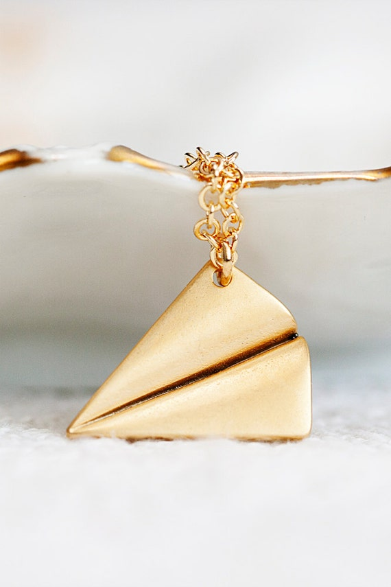 Paper Airplane Necklace Back to School Gold Filled Chain Gold Plane Necklace Origami Gold Airplane Charm Simple Jewelry - N204