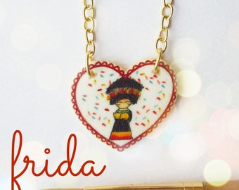 Frida Kahlo Necklace | Kids Jewelry | Watercolor Illustration | Heart Charm | Cute Gift | Original Art