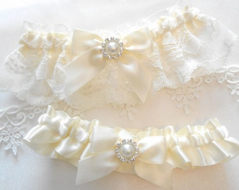 Wedding Garter Set Ivory Lace and Satin Blue Sapphire and Rhinestone Cluster CUSTOM COLOR Garter Set